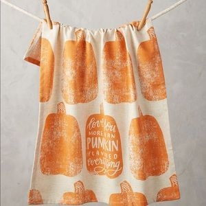 Anthropologie Love You More Pumpkin Dish Towel NWT